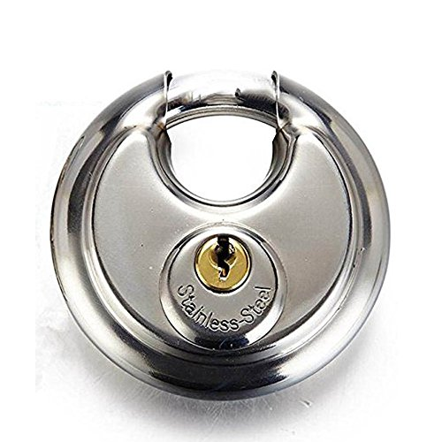 Stainless Steel Disc Padlock with 2 Keys, The Weatherproof, Waterproof, Rustproof and Stable Circular Lock with Armor Outer Shell Fit Fence Shed Garage Truck Storage Warehouse Most Storefront Gate -