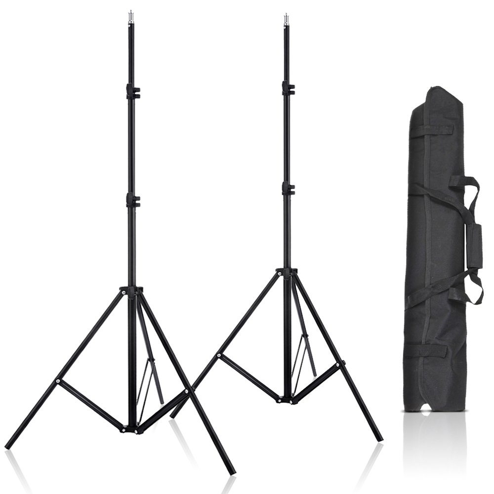 Selens 2 Pcs 80 Inch Aluminum Adjustable Impact Tripod Light Stands with Carrying Bag for Studio Kits, Lights, Softboxes 750405_US1