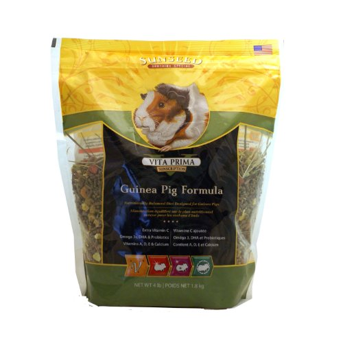 Guinea Pig Diet Pet Food - Sunseed 49100 Vita Prima Sunscription Guinea Pig Food - High Fiber Timothy Formula, 4 LBS Size