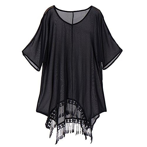 Womens Sexy Deep V Neck Lace Tassels Beachwear Swimwear Bikini Beach Wear Cover up Kaftan Shirt,Black