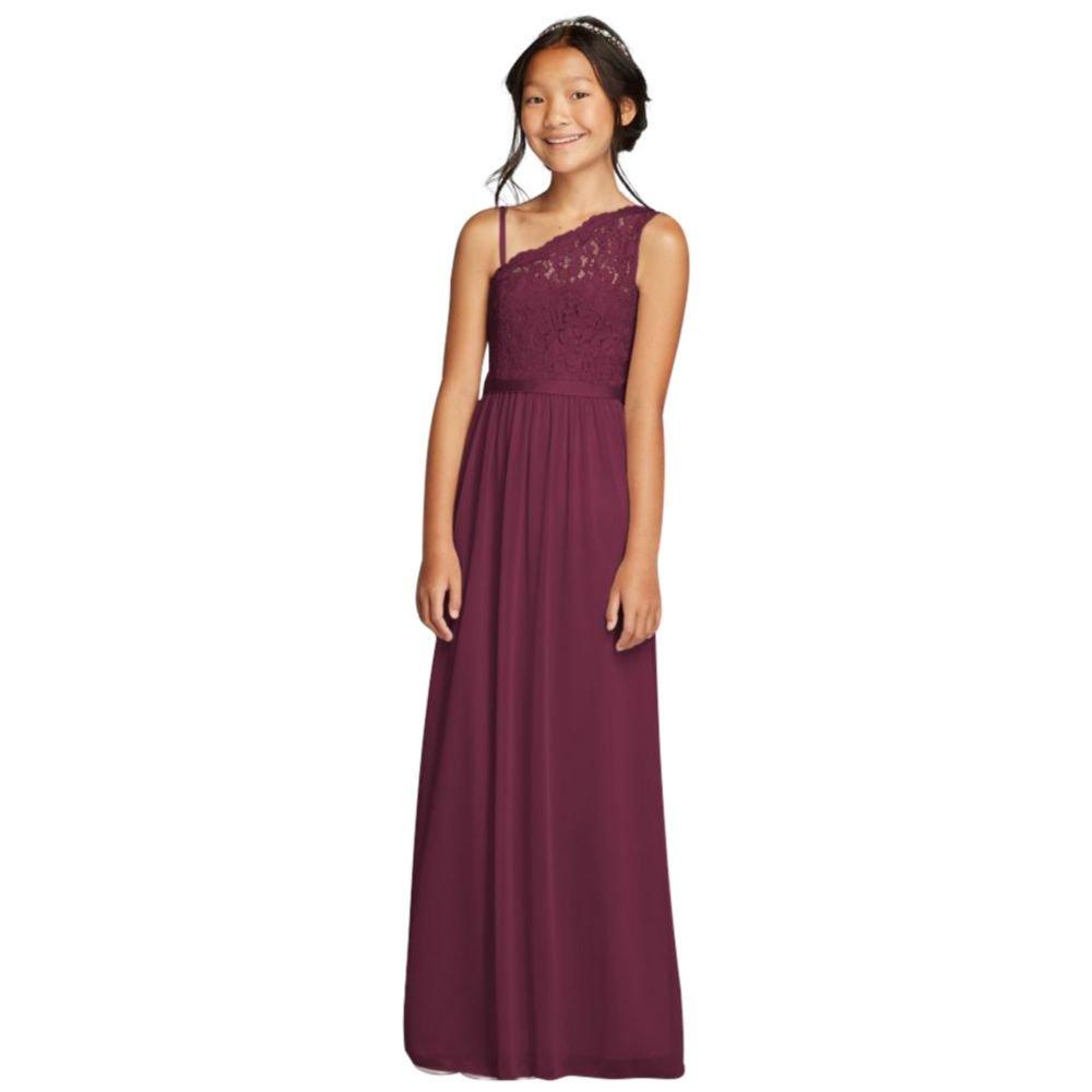 David's Bridal One Shoulder Long Lace Bodice Dress Style JB9014, Wine, 16