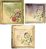 Manual Flower Market Melamine British Songbird Trays, Set of 3 For Sale