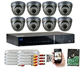 GW Security 8CH HD DVR Security System, QR-Code Connection, 8 Day Night 2400TVL High Resolution Weatherproof Dome Cameras CCTV Surveillance System 2TB HDD
