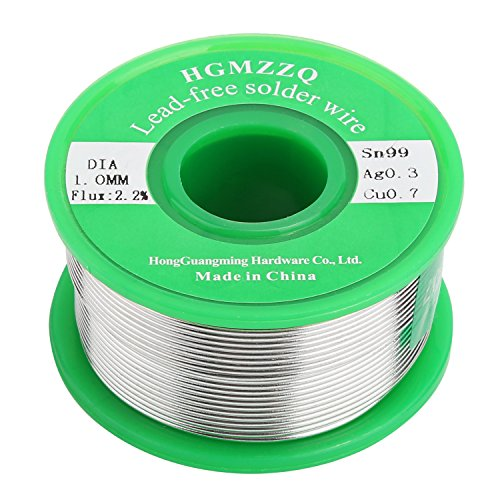 HGMZZQ Lead Free Solder Wire with Rosin Core for Electrical Soldering Sn99 Ag0.3 Cu0.7 100g 0.039 inch(1.0mm-0.22lbs)