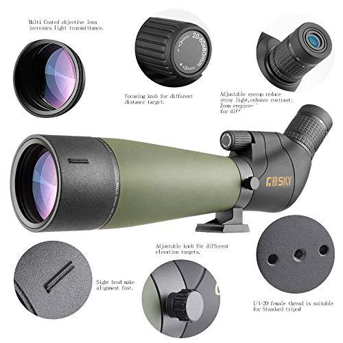 Lunette de visée Gosky Update 20-60x80 avec trépied, Sac de Transport et Adaptateur de téléphone - télescope coudé BAK4… 4