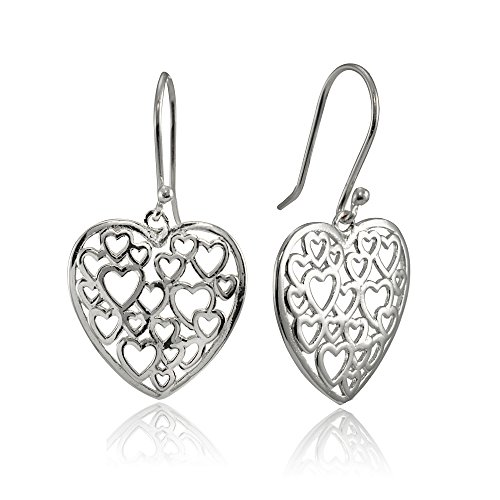 Open Filigree Heart - Sterling Silver Open Heart Filigree Dangle Earrings