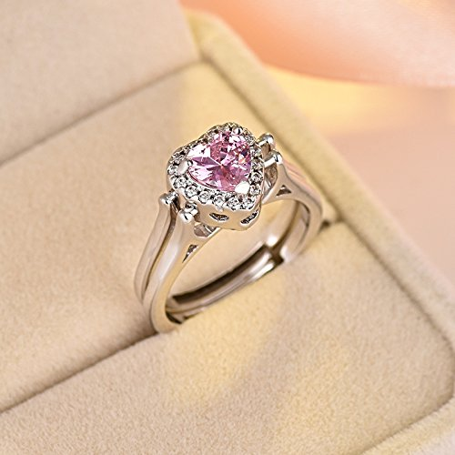 s925 Silver Diamond Fashion Women Girls Models Double-Sided flip Open Square Diamond Ring Carat Gift (Love Vibrato Rotating Ring (White Diamond Pink di