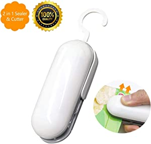 Mini Bag Sealer, Handheld Heat Sealer, Portable 2 in 1 Heat Bag Sealer and Cutter for Plastic Bags Food Storage Snack Chip Saver, Heat Food Bag Sealers& White brown (Battery Not Included)
