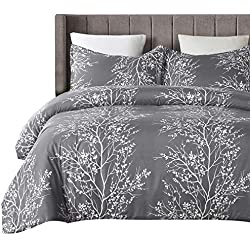 Vaulia Lightweight Microfiber Duvet Cover Set, Grey and White Floral Pattern - Queen Size