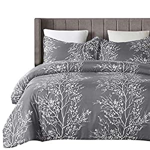 Vaulia Lightweight Microfiber Duvet Cover Set, Grey and White Floral Pattern - King Size
