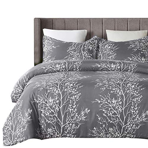 (Vaulia Lightweight Microfiber Duvet Cover Set, Grey and White Floral Branches Printed Pattern - King Size )