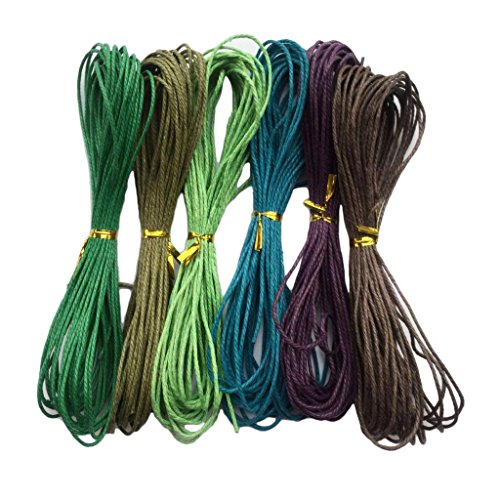 Baoblaze 6 Piece 6 Colors 10 Meter Wax Cotton Cord String for Jewelry Making 1.5mm - - Color Wax Cord