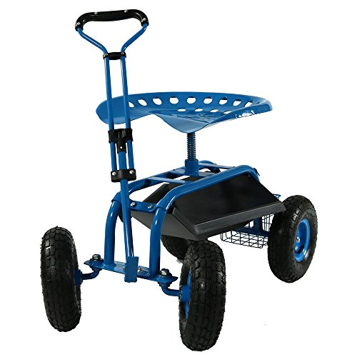 (Sunnydaze Garden Cart Rolling Scooter with Extendable Steering Handle, Swivel Seat & Utility Basket, Blue)