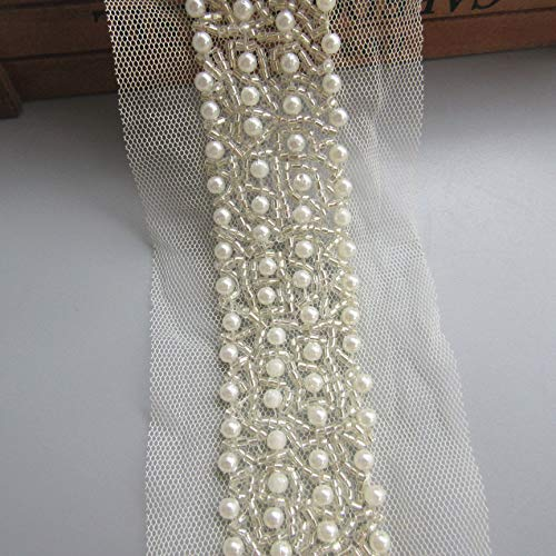 10cm Pearl Beads Decorative Fabric Lace Edge Trim Ribbon Band 1.2 inch Vintage Ivory Multicolor Edging Trimmings Embroidered Applique Sewing Craft Wedding Bridal Dress Party Clothes Decor (Ivory)