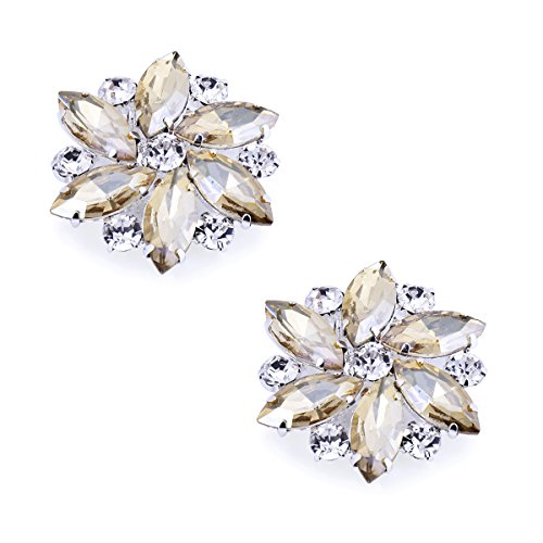 (ElegantPark AJ Shoes Dress Hat Accessories Fashion Rhinestones Crystal Shoe Clips 2 Pcs Champagne)