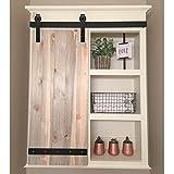 Hahaemall Vintage Interior Bending Design Mini Sliding Single Barn Door Hardware Kit for Cabinets and TV Stand Steel Track Hangers (3.5FT Single Door Kit)