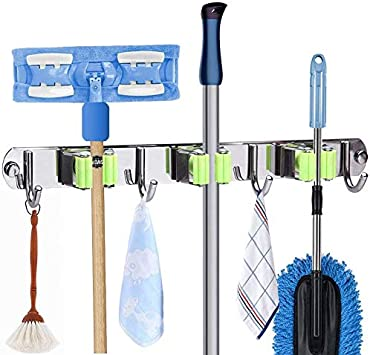 Green 4 Pcs Stainless Steel Punch-free Self Adhesive Mop Holder Wall Mount Mop Hook Broom Hanger Home Organizer /& Tool Storage Rack for Bathroom and Kitchen