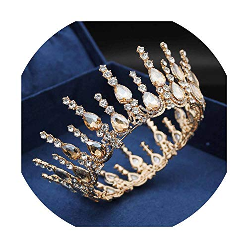 Popular Headband Gorgeous Crystal Wedding Crown Bridal Tiaras and Crowns Gold Silver Hair Jewelry Bride Diadem Pageant,Gold Yellow
