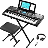 RIF6 Electric 61 Key Piano Keyboard - with Over Ear Headphones, Music Stand, Digital LCD Display, Teaching Modes and Adjustable Stool - Electronic Musical Instruments Starter Set for Kids and Adults: more info