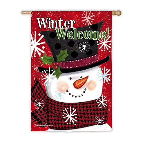 Evergreen Snowman - Evergreen Winter Welcome Snowman Outdoor Safe Double-Sided Suede House Flag, 29 x 43 inches