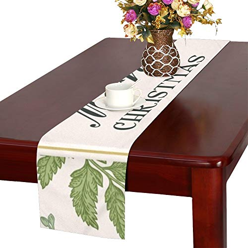 (Vintage Christmas Frame Winter Conifer Table Runner, Kitchen Dining Table Runner 16 X 72 Inch for Dinner Parties, Events, Decor)