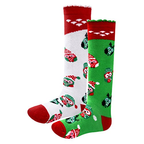 Qyqkfly Girls Lovely Princess Knee High Unique Cute Christmas Owl Boot Tube Socks(FBA) (Large, set 1-2 paris)