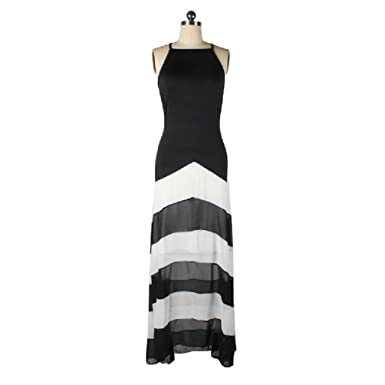 50ab067cf34a Mythgiftuk Womens Split Joint Chiffon Maxi Kleid Abend Party Striped Kleider