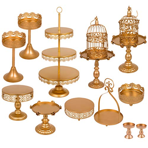 Happybuy Set of 12 Gold Cake Stand Set 3-Tier Tower Cake Plate Cake Cup Pan Basket Dessert Cage Antique Metal Cupcake Stand Pastry Holder for Wedding Birthday Party (12PCS, Gold 2)