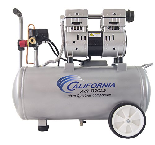 California Air Tools 8010 Ultra Quiet & Oil-Free 1.0 hp Steel Tank Air Compressor, 8 gal, Silver For Sale