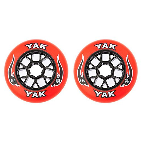 YAK Toro キックボード用ウィール 100mm x 88a 前後Set red on black