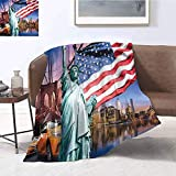 Luoiaax United States Children's Blanket USA Touristic Concept Collection Statue of Liberty NYC Cityscape Flag Cars Lightweight Soft Warm and Comfortable W60 x L70 Inch Multicolor