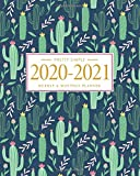 Pretty Simple Planners Weekly and Monthly Cactus Planner: Calendar Schedule + Organizer | Inspirational Quotes (2020-2021 Academic Planner)