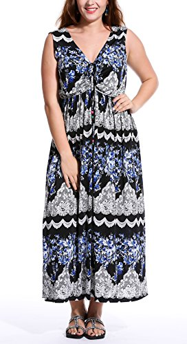 DILANNI Womens Bohemian Printed Wrap Bodice Sleeveless Crossover Maxi Dress