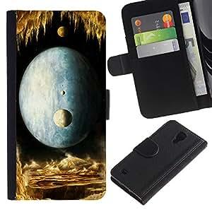 SAMSUNG Galaxy S4 IV / i9500 / SGH-i337 , la tarjeta de Crédito Slots PU Funda de cuero Monedero caso cubierta de piel ( Moon Universe Planets Magical World Yellow)