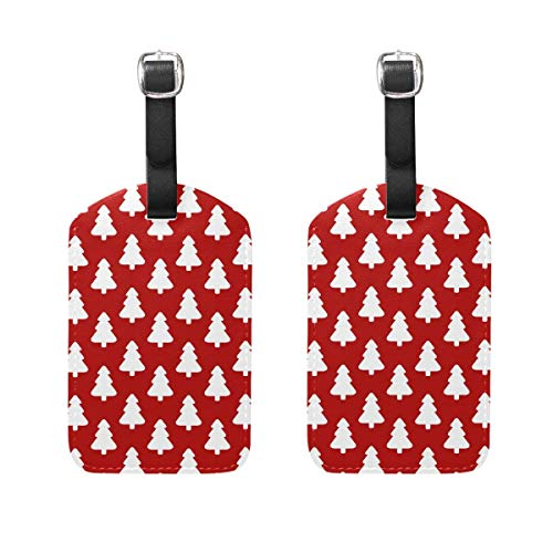 Andrea Back Poinsettia Christmas Gift Tree Pattern Suitcase Label Tags Cruise Tags Set Of 2
