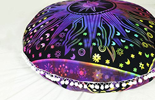 Large 32'' Round Pillow Cover, Decorative Multi Sun Moon Mandala Pillow Sham, Indian Bohemian Ottoman Poufs, Pom Pom Pillow Cases, Outdoor Cushion Cover (Multi) by Sophia Art