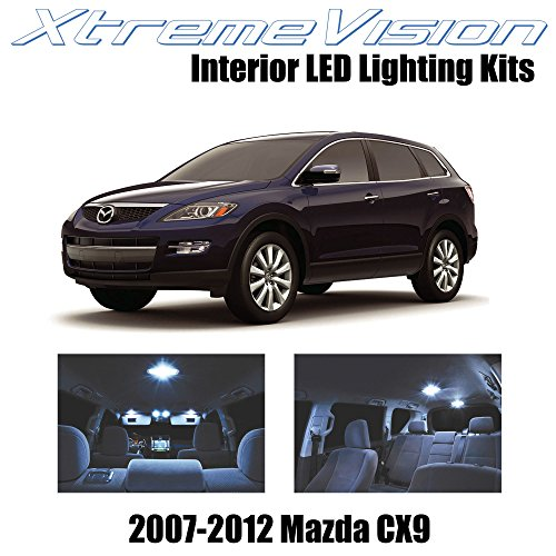 2009 10 Piece - XtremeVision Interior LED for Mazda CX9 2007-2012 (10 Pieces) Cool White Interior LED Kit + Installation Tool Tool