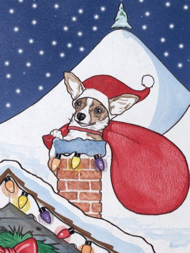 Pipsqueak Productions C909 Chihuahua Rooftop Christmas Boxed Cards - Pack of 10