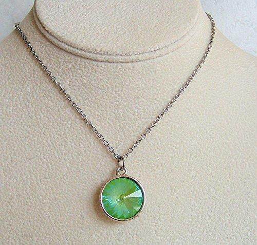 Rivoli Button (Sparkly Lime Green Rivoli Crystal Stainless Steel 24