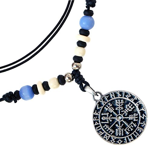 New Pewter Celtic Knot - New Guidepost Compass Viking Protection Vegvisir pewter pendant Handmade adjustable necklace w beads