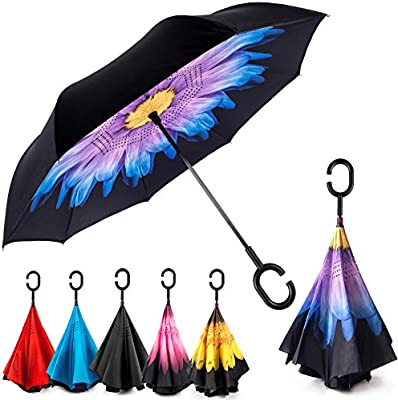 My Little Pony Purple Style Car Reverse Umbrella Windproof And Rainproof Double Folding Inverted Umbrella With C-Shaped Handle UV Protection Inverted Folding Umbrellas