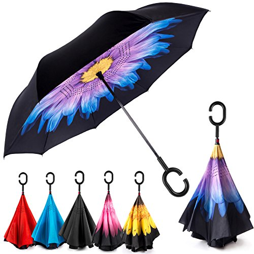 EEZ-Y Reverse Inverted Windproof Umbrella - Upside Down Umbrellas with C-Shaped Handle for Women and Men - Double Layer Inside Out Folding Umbrella (Today Deals)