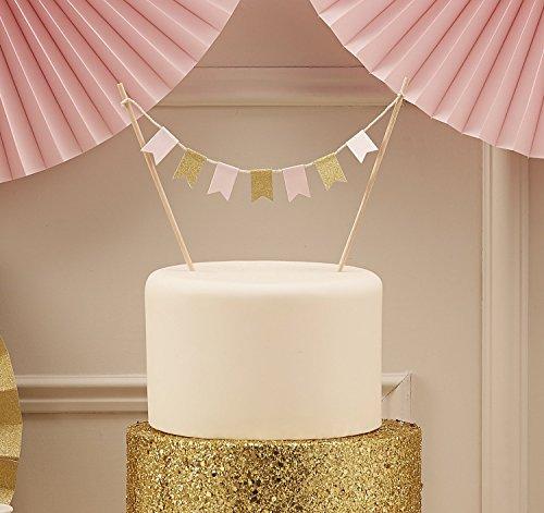Kuchenaufsatz Girlande mit rosa & goldenen Fähnchen zur Dekoration Ihrer Kuchen & Torten