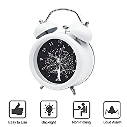 BESTWYA Twin Bell Alarm Clock,Quartz Alarm Clock with Loud Alarm Cute Appearance Backlight Silent Ticking Battery Operated Loud Alarm Clocks for Heavy Sleepers (White,Wishing Tree)