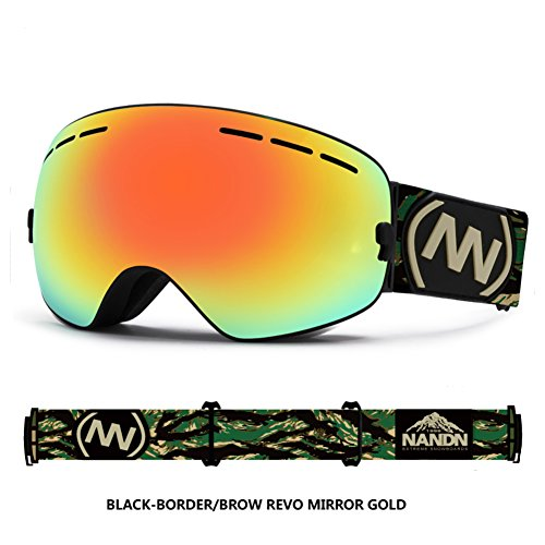 SE7VEN Lunettes De Ski Professionnel,Double Couche Anti-buée Protection Uv Ultra Wide-ange Lentille Sphérique Unisexe Otg Snowboard Goggle Q