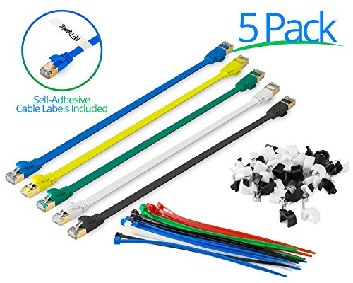 Maximm Cat7 Flat Ethernet Patch Cable - 1 Feet - Multi Color - 5 Pack - Internet RJ45 Gigabit Cat7 Lan Cable With Snagless Connectors For Fast Network & Computer Networking + Cable Ties 1' Flat