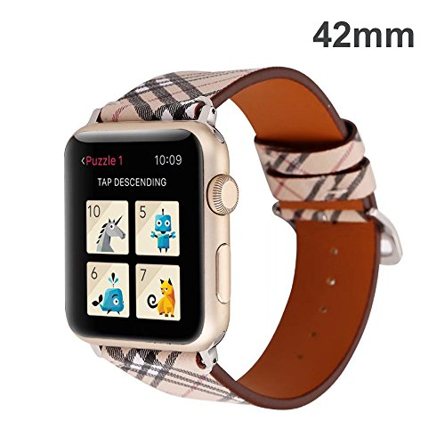 TCSHOW for Apple Watch Band 42mm,42mm Soft PU Leather Pastoral/Rural Style Replacement Strap Wrist Band with Silver Metal Adapter for Apple Watch Series 3/2/1(Not for Apple Watch 38mm) (Z8) by MeShow (Image #1)