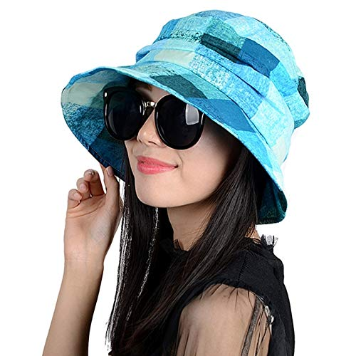 Unique hat Cap Women Girls Spring Summer Sun Sun Leisure Travel Collapsible Bucket Hats Sun (Blue Plaid