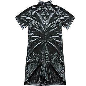 - 51tNfHoD3RL - CHICTRY Men Gay Sexy Faux Leather Bodysuit Kinky Wet Look Clubwear Costume