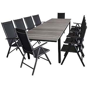 11piezas. Asiento Grupo Jardín muebles de asiento (mesa extensible, marco de aluminio, polywood tablero gris, 160/210/260x 95cm + 10x Respaldo Alto, plegable, 2x 2Cordaje/Muebles de Jardín Terraza Juego de muebles